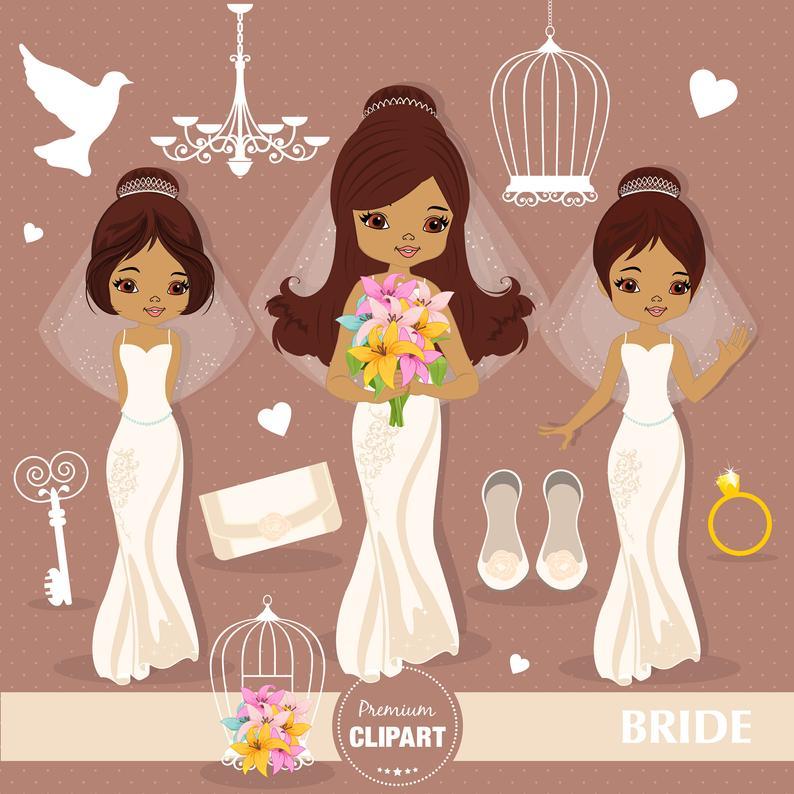 African American Bride clipart, Wedding clipart, Wedding invitation,  Wedding graphics, Wedding party, Clip art.