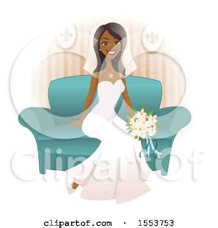 Clipart of a Beautiful Happy African American Bride Sitting on a.