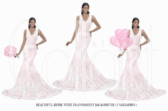 Wedding Clipart, African American Girl Bridal Clipart, Bride to be.