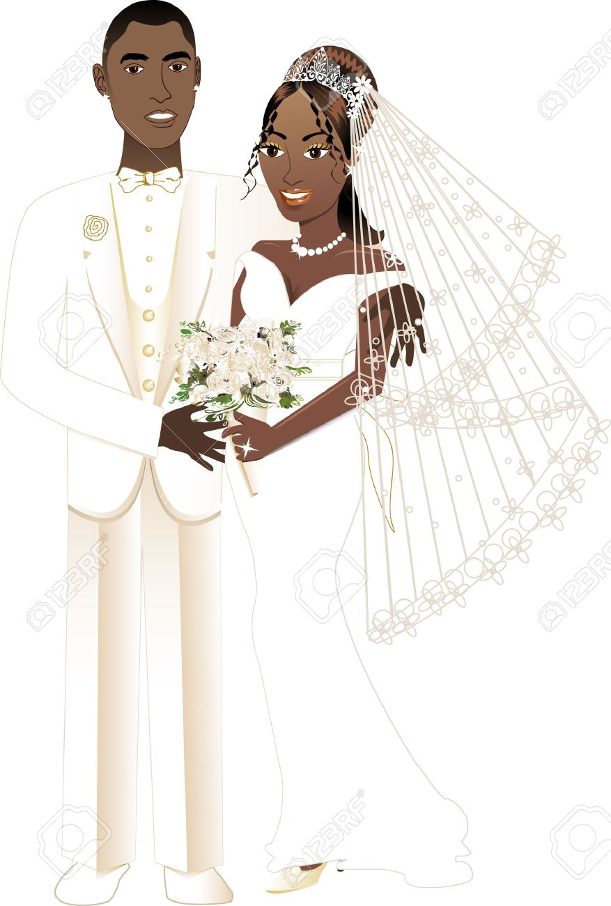 Vector Illustration. A beautiful bride and groom on their wedding...