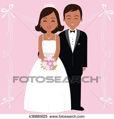 African American wedding couple. Vector illustration Clipart.