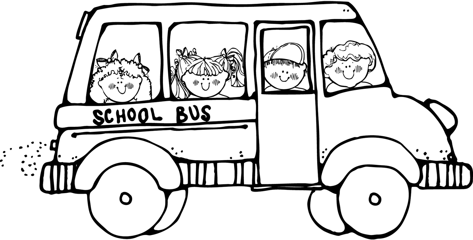 Black And White Clipart Of School Bus.