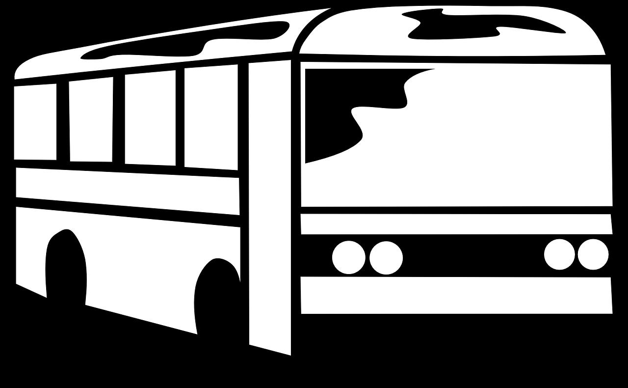 Bus Black And White , Transparent Cartoon.