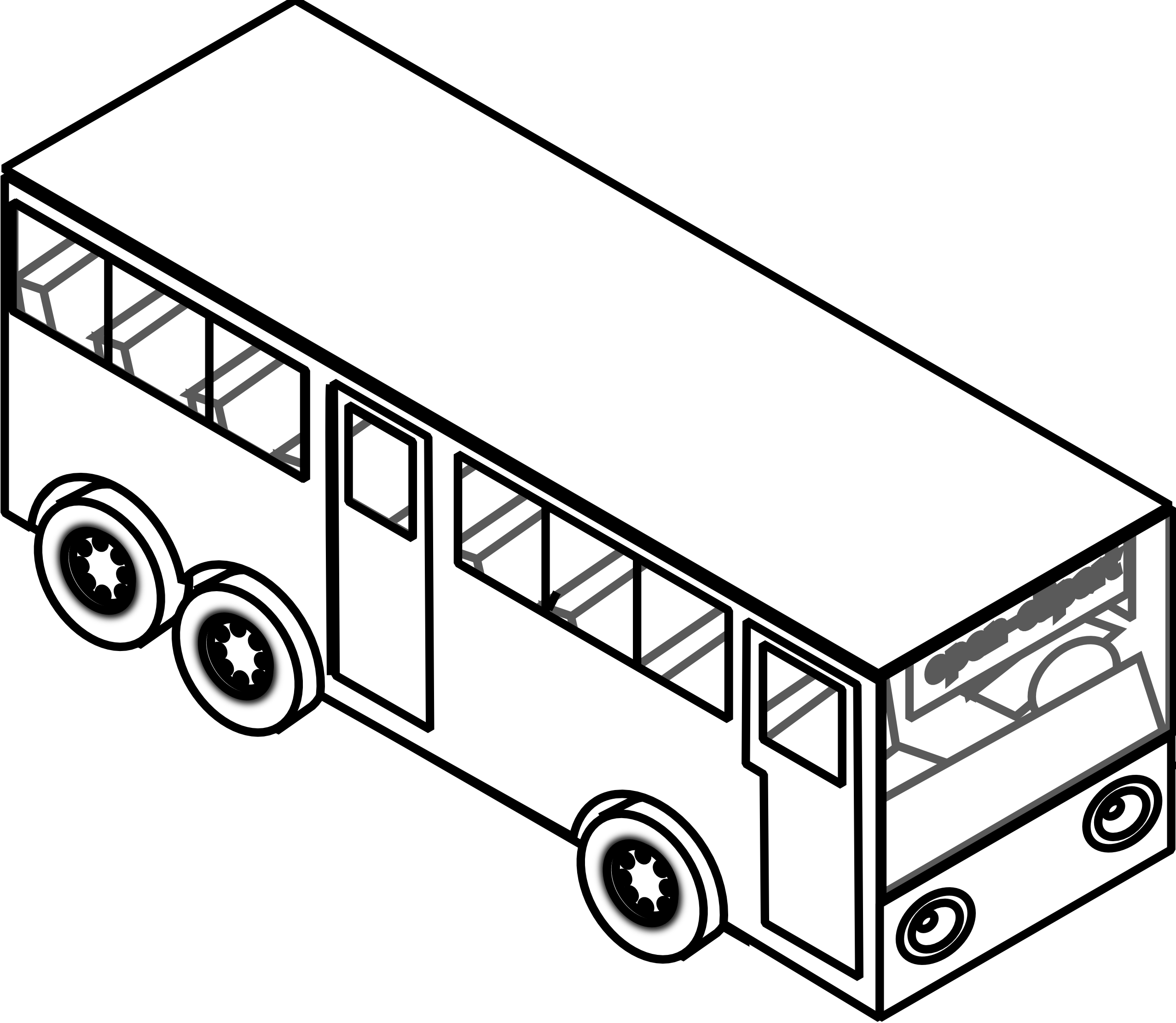 Black And White Clipart Of Bus.