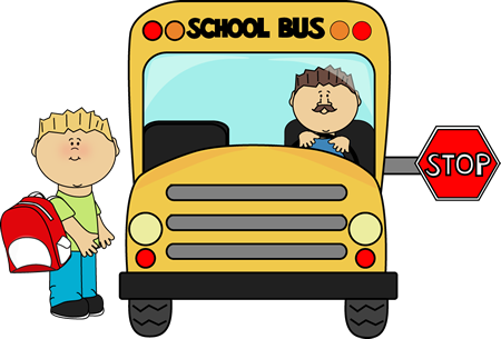 Boy getting on a school bus from MyCuteGraphics.