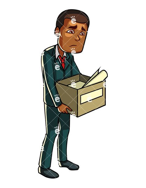 Black Businessman Carrying Box With His Belongings.