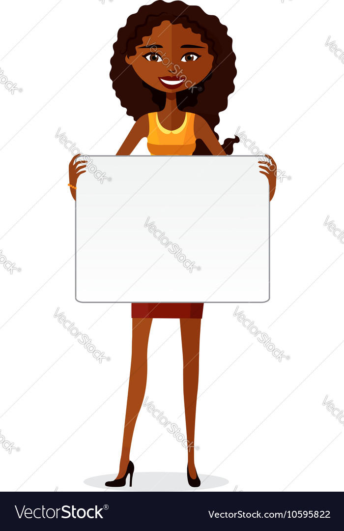 African American businesswoman holding board.