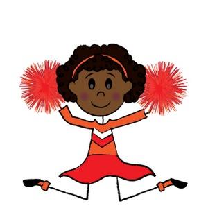 African American Cheerleader Clipart.