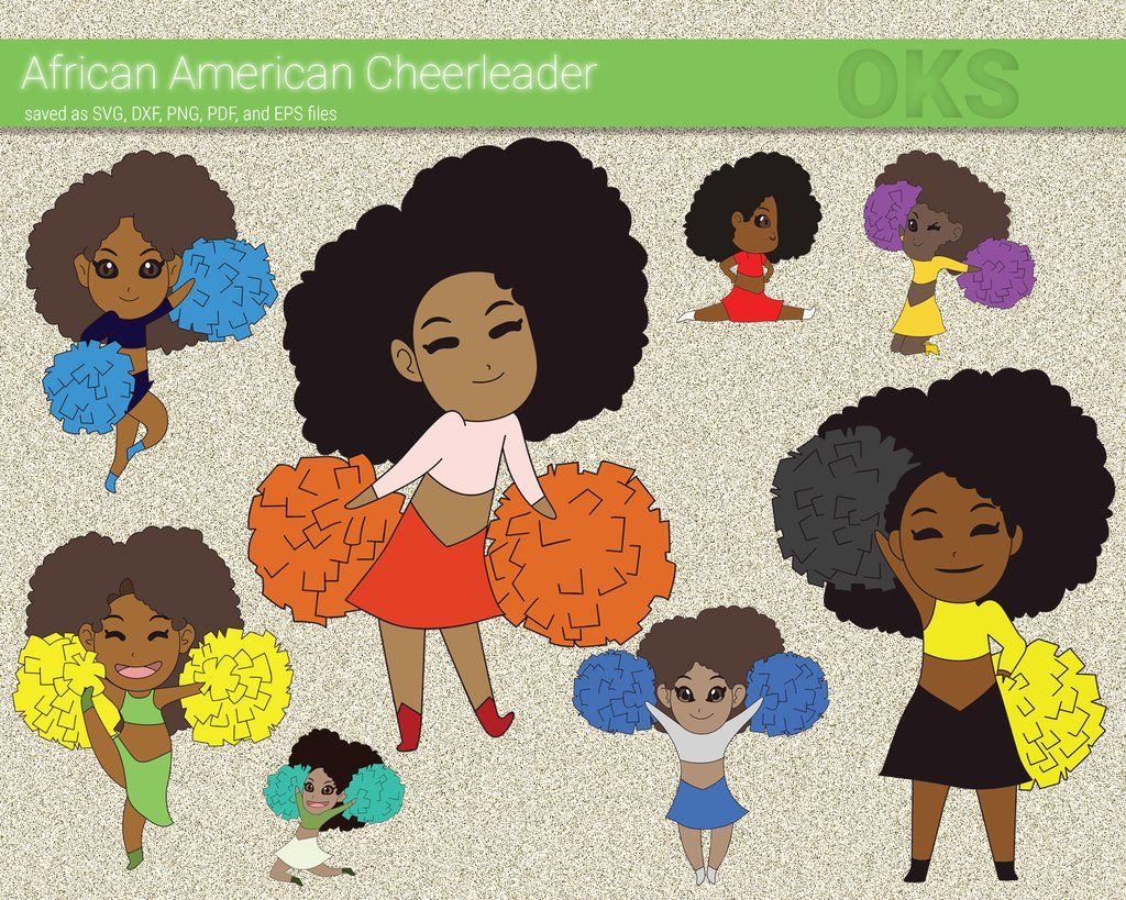 African american cheerleader svg, dxf, vector, eps, clipart.