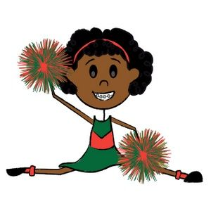 free african american and white cheerleader clip art.