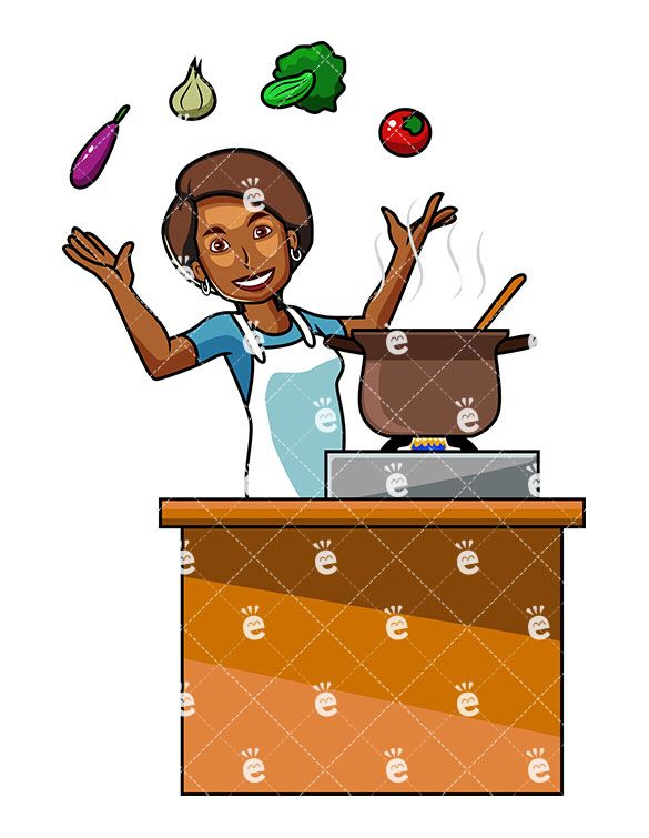 A Black Woman Cooking With Vegetables.