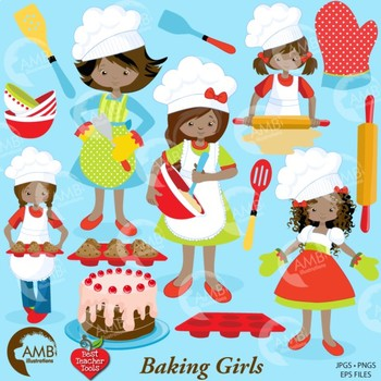 Baking Day Clipart, Chef Clipart, African American Clipart, AMB.