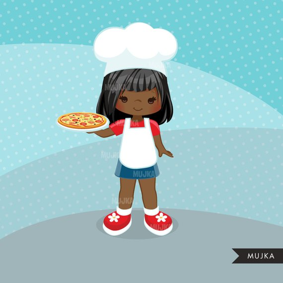 Baking clipart Pizza Chef Clipart. Little Girl Graphics.