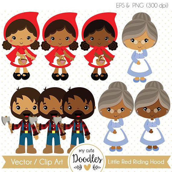 Little Red Riding Hood clipart, cute black girl cliparts.