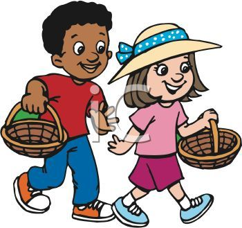 African American boy and Caucasian girl are Easter egg.