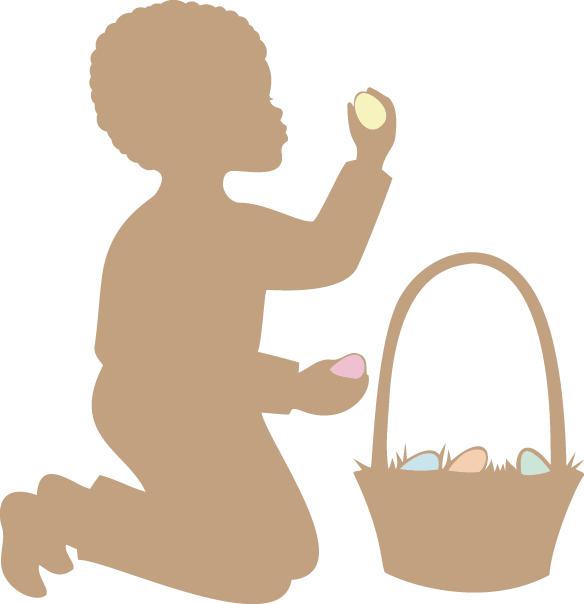 Easter Silhouette: African American Boy.