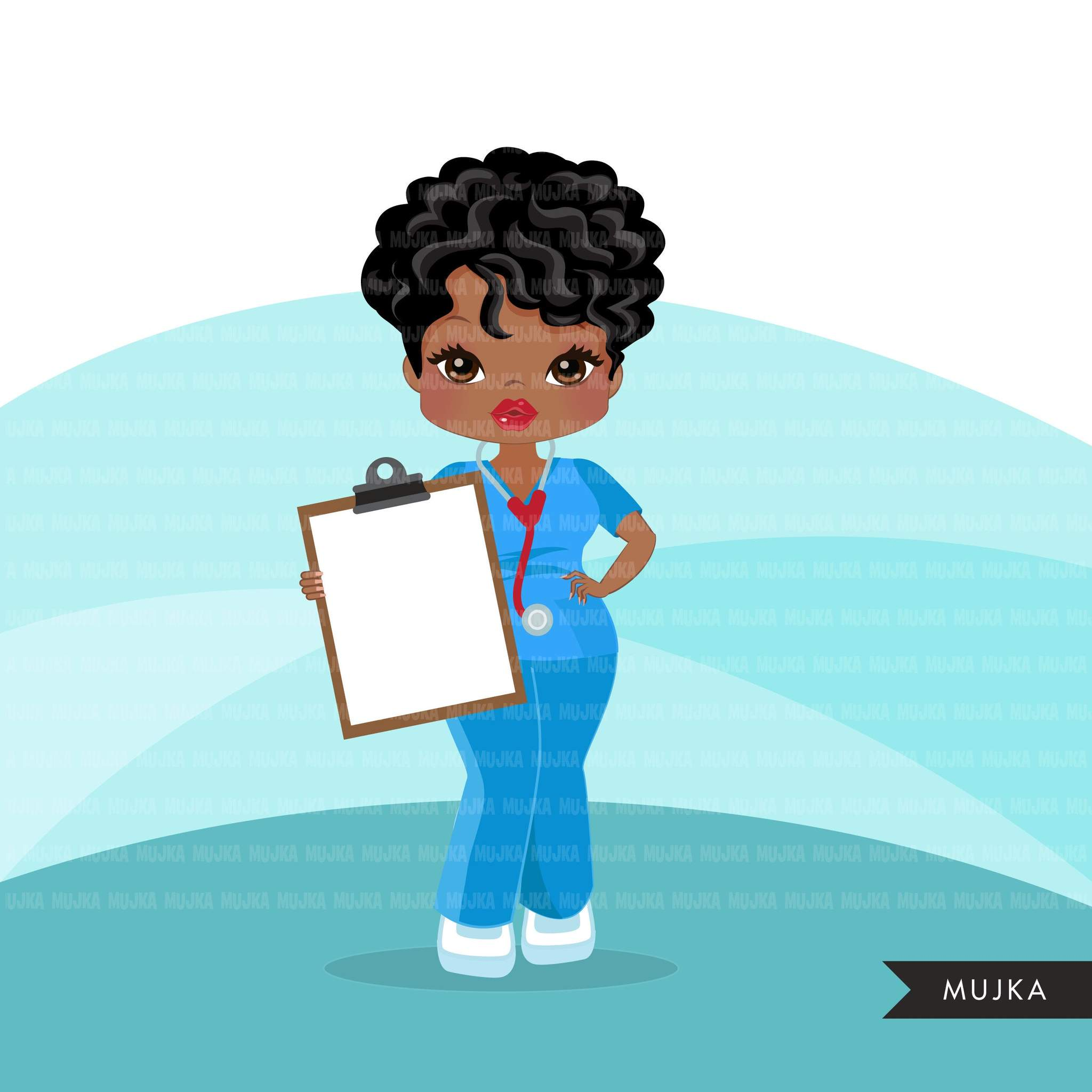 Black nurse clipart with scrubs African.