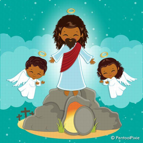 Jesus Resurrection clipart, Christianity clipart, Easter.