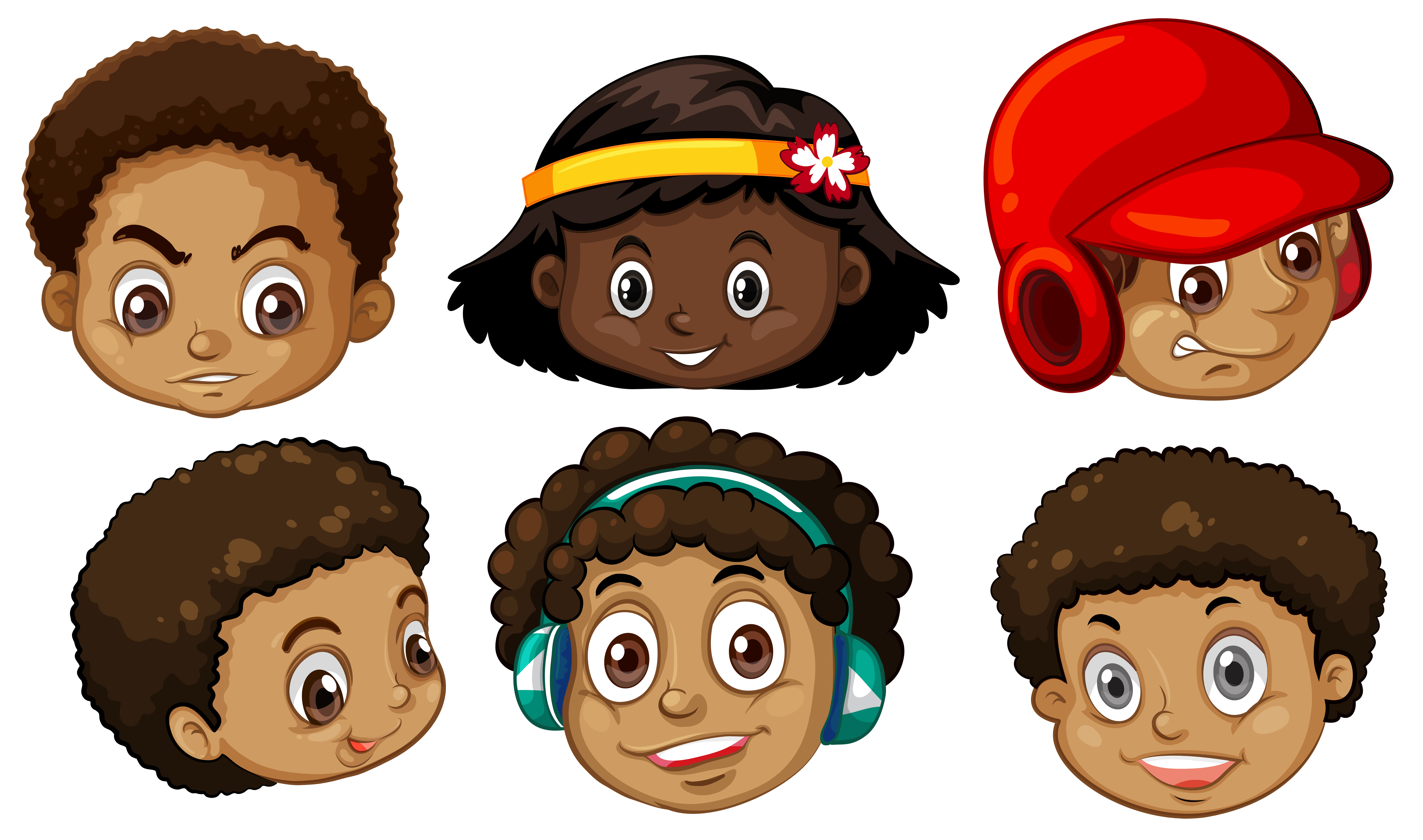 African American Kids Faces Free Vector Art.