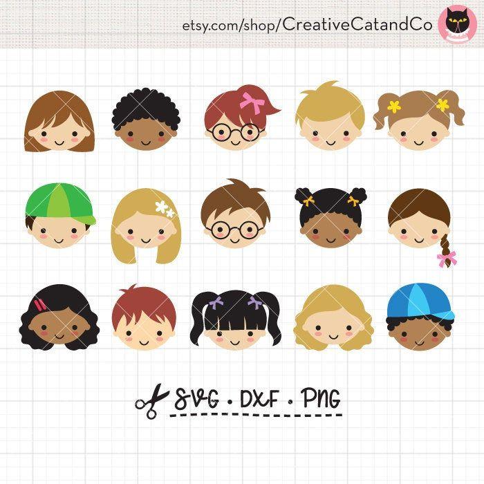 Kid Children Face SVG DXF Clipart Cute Little Boy Girl Kid.