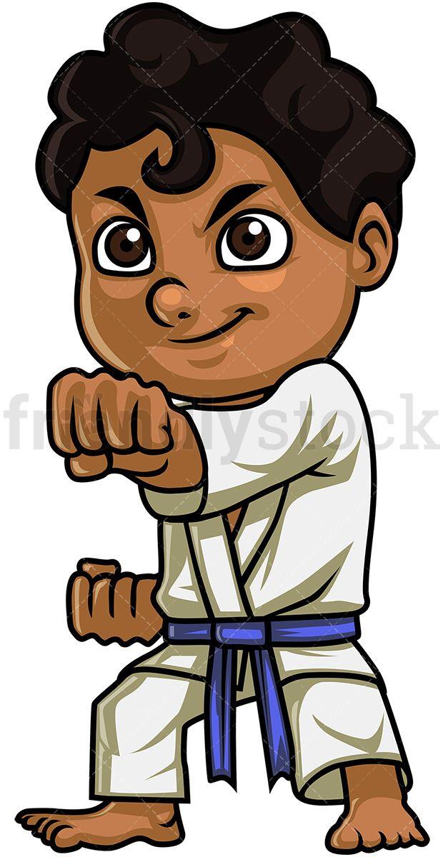 Little Boy Doing Karate.