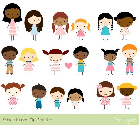 Cute Children Clipart, Multicultural clip art multiracial.