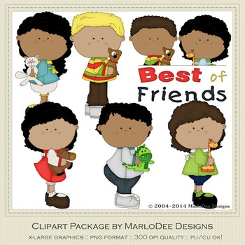 Best of Friends Clip Art Graphics Set 2 African American Children.