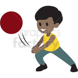cartoon African American boy playing with ball clipart. Royalty.