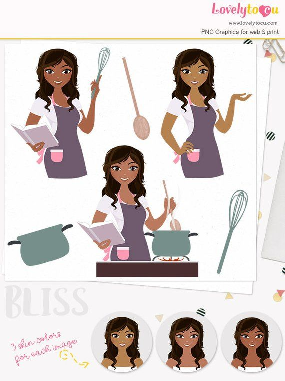 Cooking woman character clipart, kitchen cook book, girl.