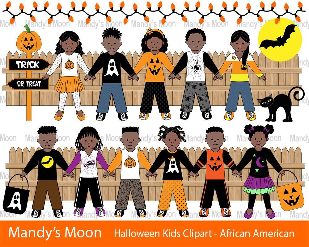 Halloween Kids Clipart Set.