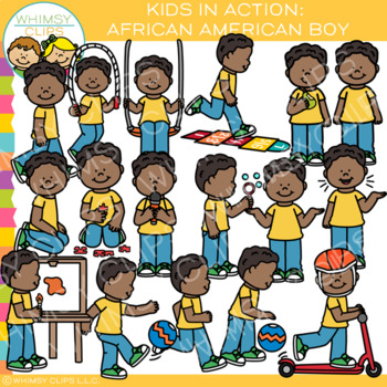 Kids in Action Clip Art: African American Boy.