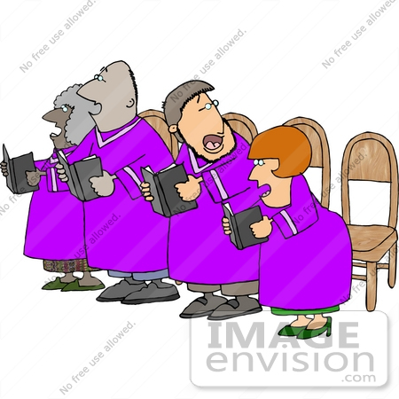 African American and Caucasian Couples Singing in Choir Clipart.