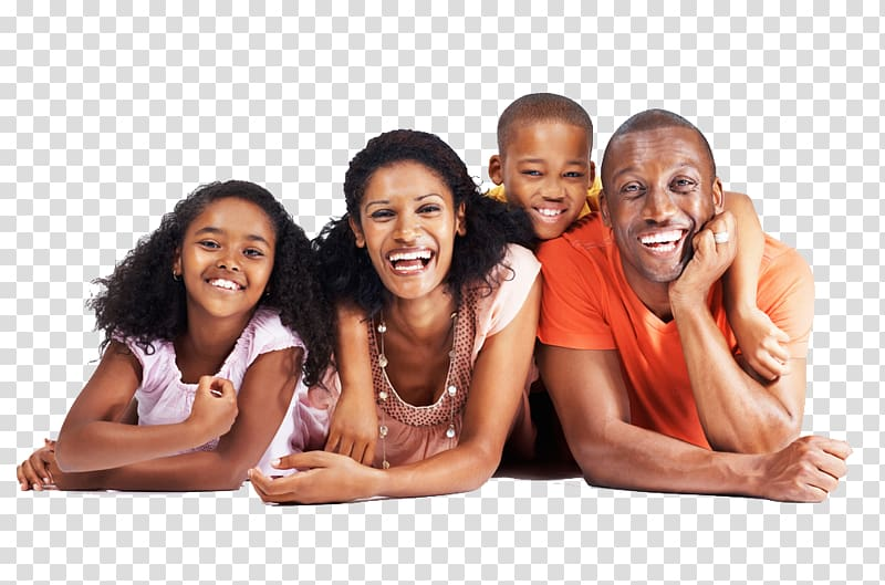Family of four illustration, African American Family United.
