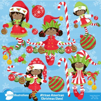 Christmas clipart, African American Christmas Elves cliparts AMB.