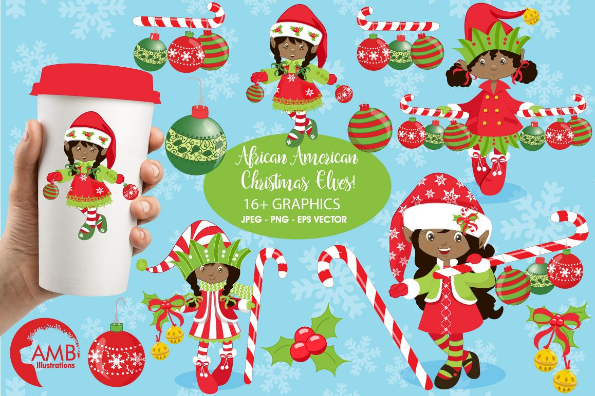Christmas African American elves clipart, graphics, illustrations AMB.
