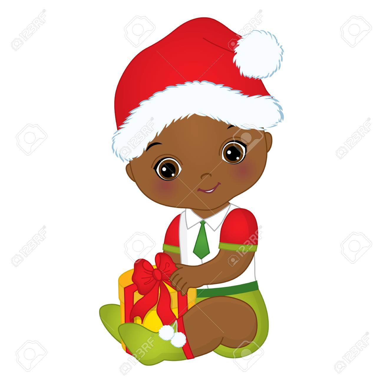 Vector cute little African American baby boy wearing Christmas...
