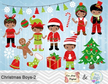Christmas Boys Clip Art, Red and Green African American Christmas Boys 00216.
