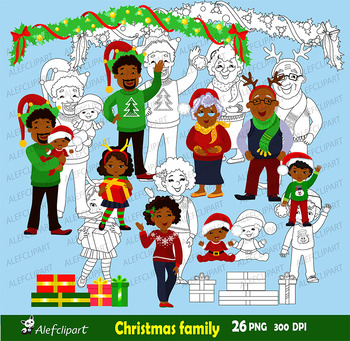 Christmas Family Clipart, Family African American, Christmas Clip Art.