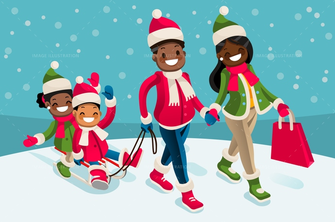 Winter Family Vacations Isometric People Black Cartoon Character.