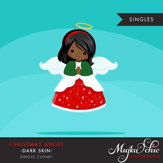 Christmas Angel Clipart. Dark skin African American, holiday.
