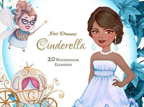 Cinderella Clipart Watercolor Clipart Princess by KrisDreams.
