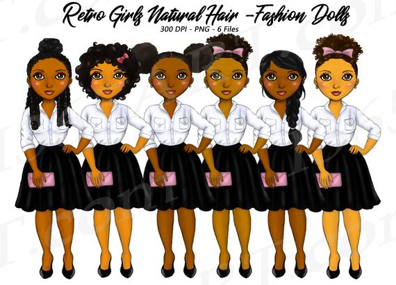 50% OFF Retro Girls Clipart, Natural Hair, Black Girls.