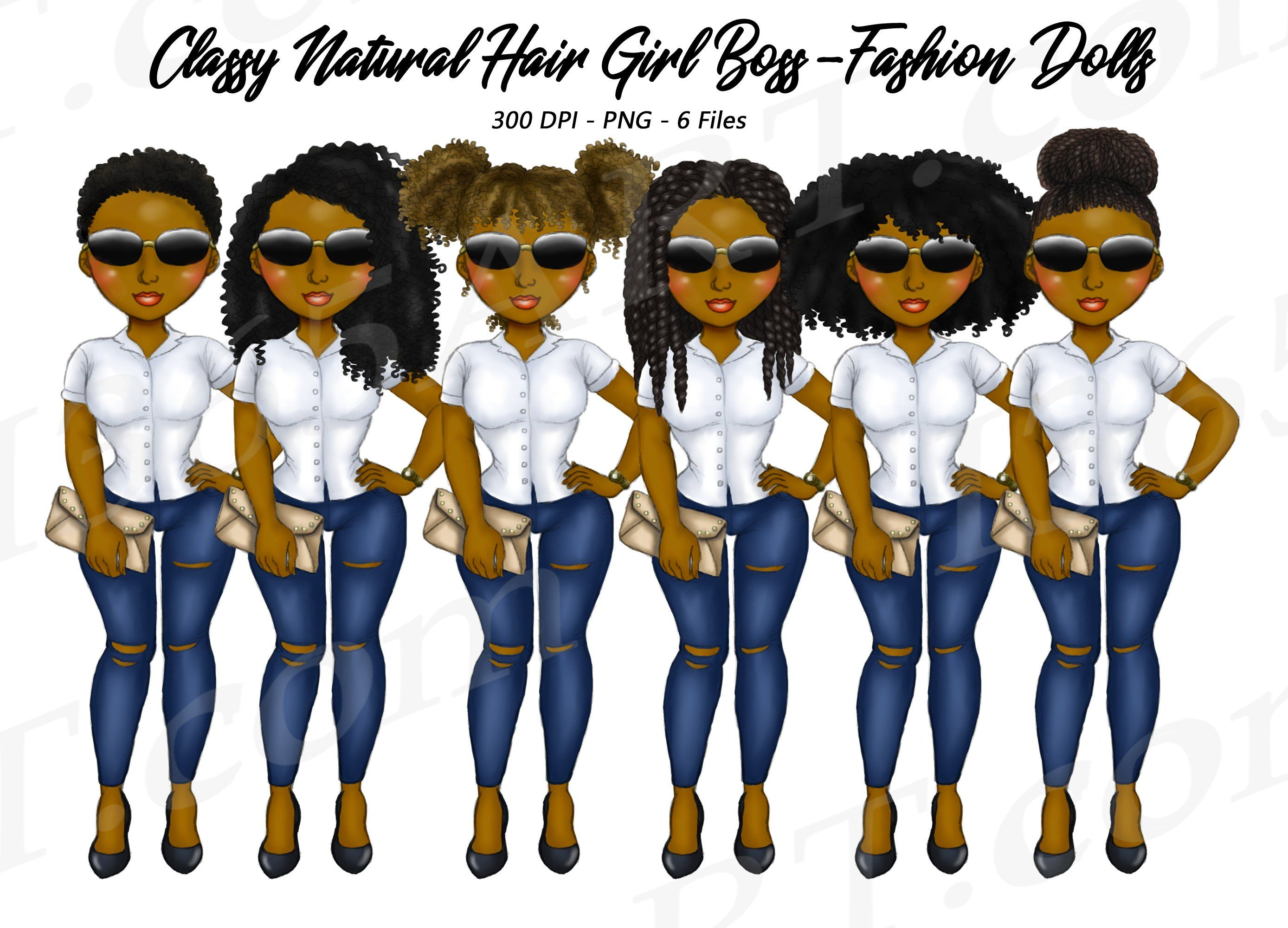 Street Fashion Clipart, Natural Hair, Black Girls, City.
