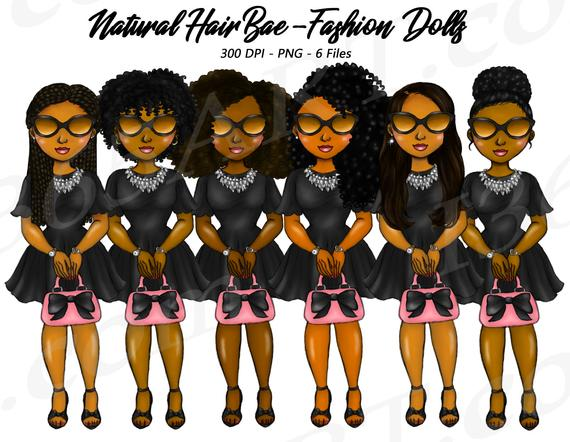 50% OFF Bad Bae Clipart, Natural Hair, Black Girls, Street.