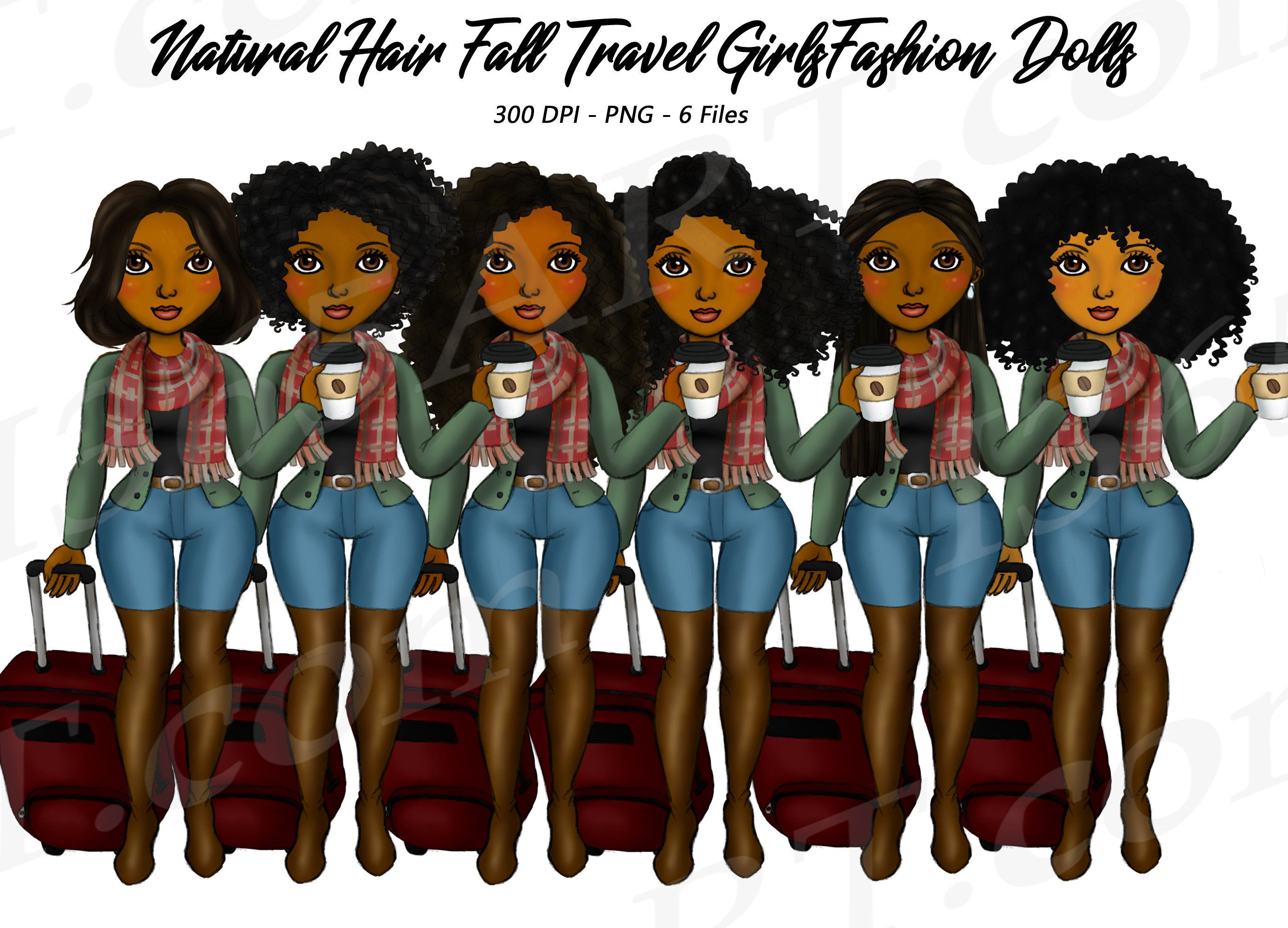 Fall Travel Clipart, Natural Hair, Autumn, Black Girls.