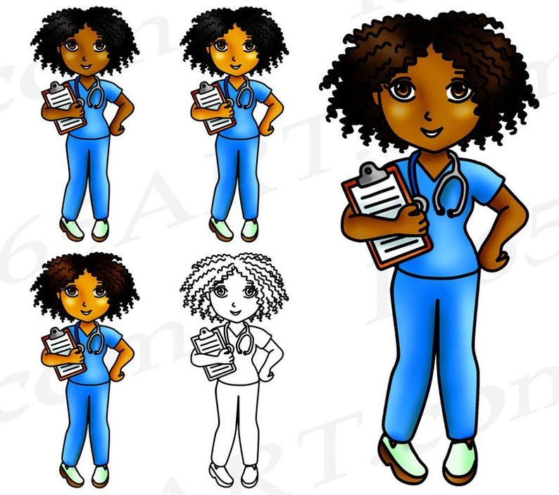 50% OFF Black Nurse Clipart, Black Girl Nurse, Clip Art, African American,  Nurse Girl, Planner Stickers, Graphics, PNG, Digital Stamps.