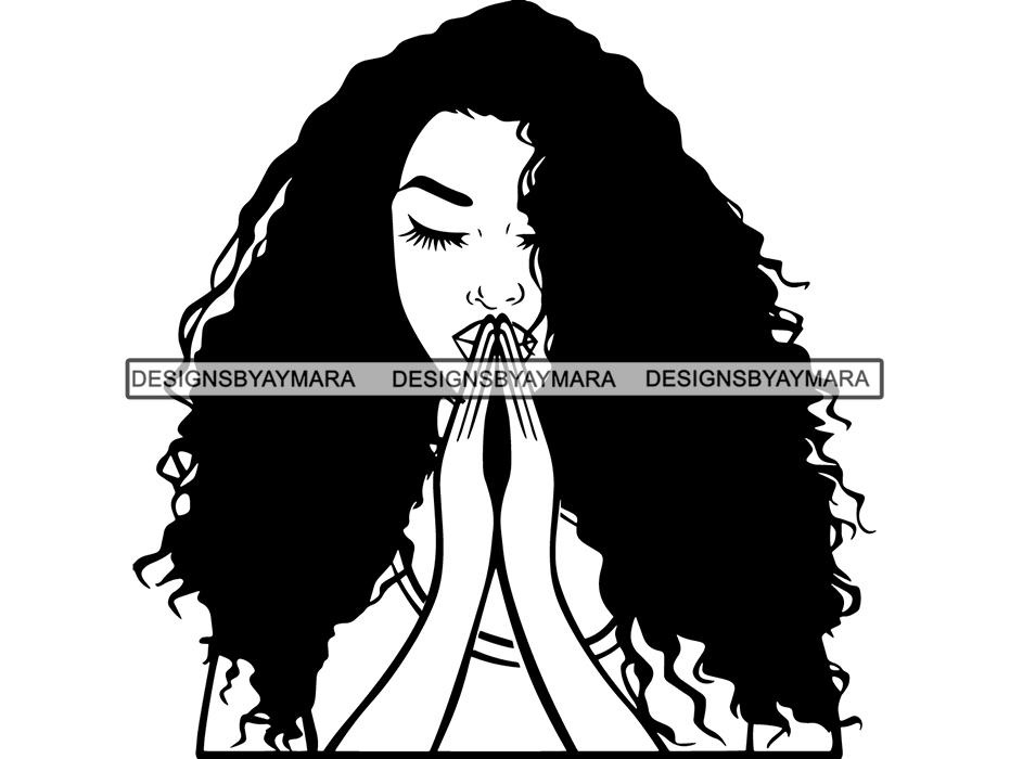 Afro Woman Praying God SVG Believe Religion Faith African American  Ethnicity Afro Puffy Hair Life Quotes Spirit Awakening .SVG .EPS .PNG .Jpg  Vector.