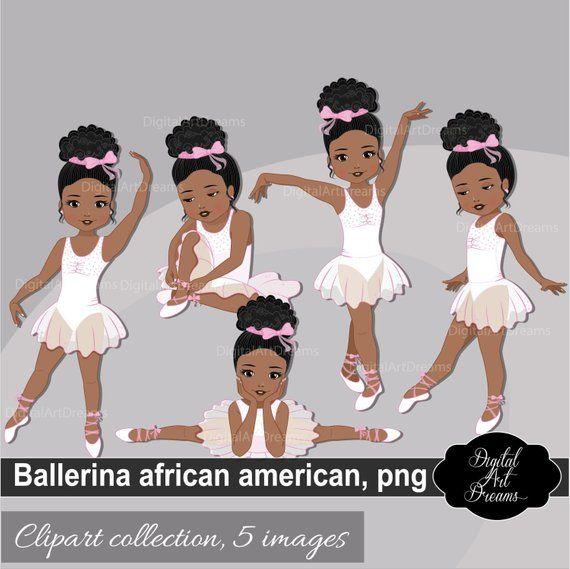 Ballerina African American Clipart, Little Girls Graphics.