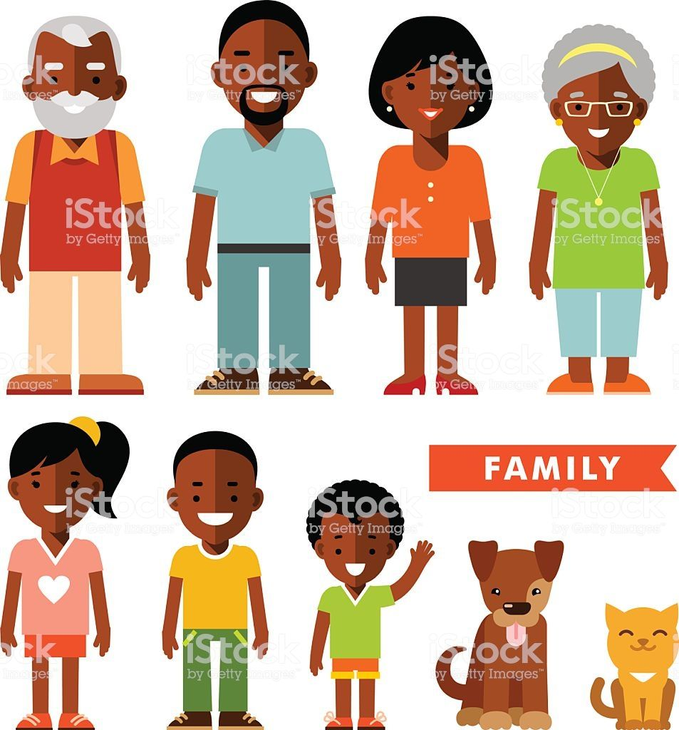 Happy family of seven african american ethnic people and two.