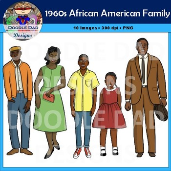 African American Family 1960s Clip Art (Civil Rights, Black History,  Equality).